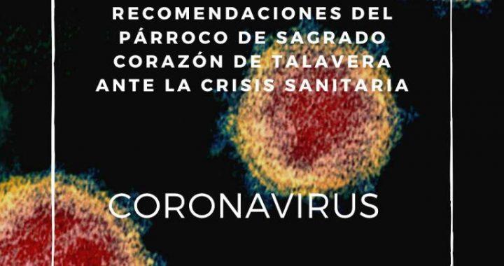 CORONAVIRUS – Recomendaciones del Párroco